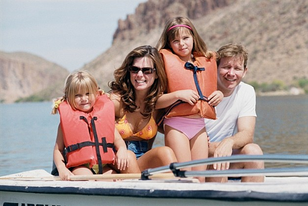 family on water