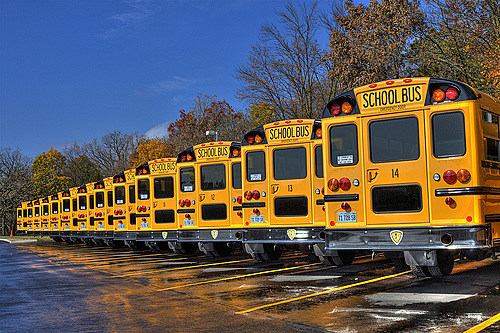 school bus line up