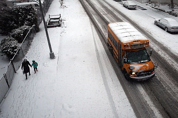 School Bus on Icy Road