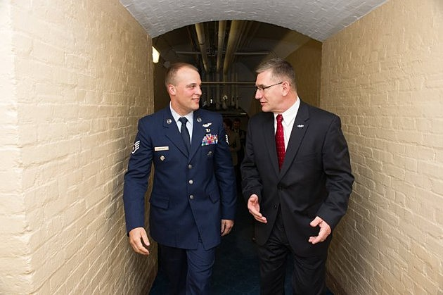 Senator John Walsh with Staff Sgt. Luke Dryden