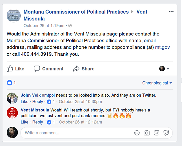 Screen shot of Vent Missoula Facebook Page
